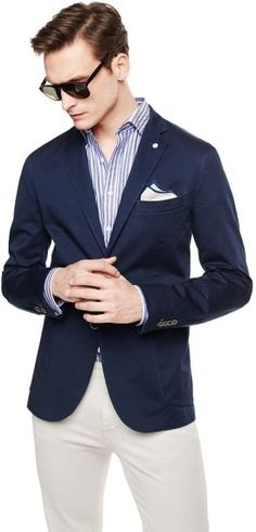 $99, Navy Cotton Blazer: Mango Outlet Unstructured Cotton Blazer. Sold by Mango. Click for more info: https://lookastic.com/men/shop_items/187224/redirect
