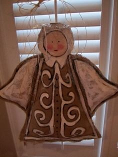 Christmas Angel Burlap Door Hanger by nursejeanneg on Etsy, $28.00