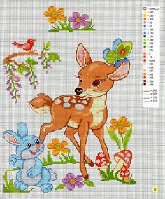 This Pin was discovered by Mil Cross Stitch For Kids, Cross Stitch Baby, Cross Stitch Animals, Cross Stitch Charts, Cross Stitch Designs, Cross Stitch Patterns, Baby Embroidery, Cross Stitch Embroidery, Stitch Cartoon