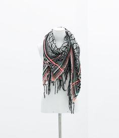 Image 2 of JACQUARD SCARF WITH FRINGES from Zara
