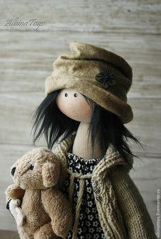 Купить Моника 2. Текстильная кукла. - чёрный, черно-белый, кукла, кукла ручной работы