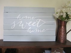 Hand Painted Home Sweet Home Light Gray by KelseyNicoleDesignCo