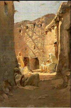 Algérie - Peintre Français, Armand Point (1860-1932) , Huile sur toile 1891, Titre : Au soleil de Bou - Saâda
