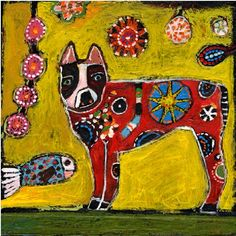 Pablo Red Dog and fish Painting by jillmayberg on Etsy