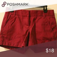 """J. Crew Chino Shorts Excellent used condition wine colored shorts. 4"""" inseam. Size 0. J. Crew Shorts"""