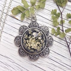 Flower necklace real flower jewelry resin jewelry vintage