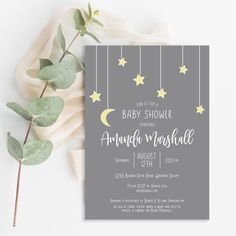Stars and Moon Shower Stars and Moon Shower, perfect for a gender neutral shower. Love them to the moon and stars baby shower invitations. Custom created by Brown # Baby Shower Registry, Baby Shower Niño, Gender Neutral Baby Shower, Shower Party, Baby Shower Themes, Baby Shower Decorations, Baby Shower Parties, Baby Shower Gifts, Shower Ideas
