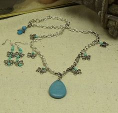 Chunky Turquoise Blue Stone Pendant,Long Statement Necklace Set,Butterfly Beads,Silver Chain,Matching Earrings,Guardian Angel Dangle,#NS1028 by ckdesignsforyou. Explore more products on http://ckdesignsforyou.etsy.com