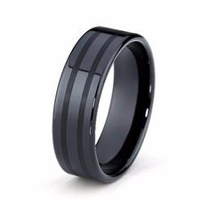 Black Wedding Band Tungsten Carbide 8mm High Polished Black Tungsten Ring Mens Wedding Ring Female Male Matching Set His Hers Black Ring Scratch Proof