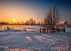 Domy, Zima, Wschód Słońca