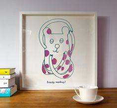 Monkey//Nursery art//Wall decor//Wall art//Art for by illustation