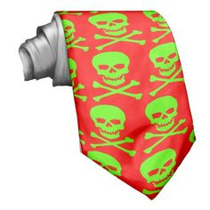 skull and bones-green custom tie