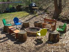 Firepit with chairs, benches & grill