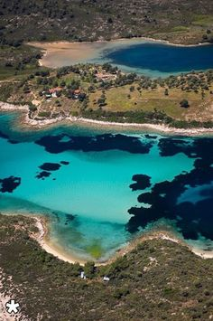 Fine white sand and shallow translucent waters broken only by patches of deep cobalt and bright turquoise, Halkidiki, Greece Beautiful Islands, Beautiful Beaches, Beautiful World, Places To Travel, Places To Visit, Places In Greece, Thessaloniki, Greek Islands, Greece Travel