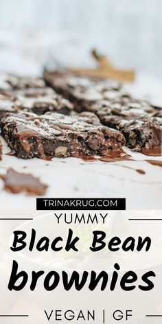 Vegan Black Bean Brownies (Gluten Free) | If you are looking for some healthy and delightfully chocolate brownies, these Vegan Black Bean Brownies are just for you! #veganbrownies #vegandessert Easy Gluten Free Desserts, Gluten Free Snacks, Vegan Desserts, Gluten Free Recipes, Vegan Recipes, Dessert Recipes, Black Bean Brownies, Chocolate Brownies, Vegan Chocolate