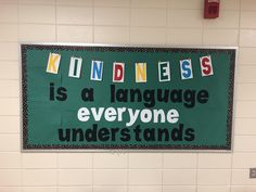 Elementary speech and language bulletin board. Kindness is a language everyone understands. Speech Bulletin Boards, Kindness Bulletin Board, Interactive Bulletin Boards, Back To School Bulletin Boards, Classroom Bulletin Boards, Classroom Themes, Speech Language Pathology, Speech And Language, Speech Room
