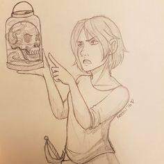Keekal's Doodles. Lucy giving the skull a piece of her mind