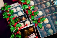 Sparkly holiday bling truffle packaging.