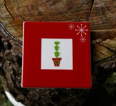 Starbucks Coffee Company Christmas Holiday 2006 Red Coaster Potted Cup Tree Snow  | eBay