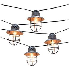 Metal Cage String Lights 10ct Smith Hawken Camping Bedroom Side