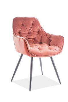 Scaunul Cherry Velvet a fost creat în conformitate cu moda actuala avand o tesatura de catifea moale si placuta. Acest scaun tapitat in culoarea roz cu picioare din metal negre este un scaun stabil si elegant, potrivit pentru interioarele moderne si minimaliste dand o pata de culoarea incaperii. #scaun #tapitat #catifea #roz #scauntapitat #scaunroz #scaune #diningroom #pink #velvet #tufted #chair #chairdesign #pinkchair #velvetchair Dark Peach Color, Peach Colors, Colorful Chairs, Eames, Keds, Armchair, Lounge, Velvet, Furniture