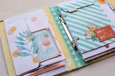 Great ideas for adding interactive elements into your mini albums.  And lots of great ideas for adding layers / texture / visual interest and variety to your pages