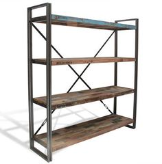 Boatwood Industrial Shelves Bookcase