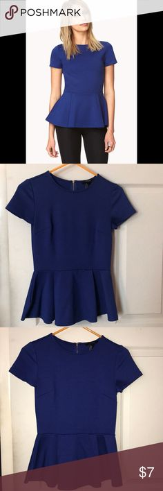 Royal blue peplum top! Peplum top! I have bad lighting in my room, but the photo does show the color of the shirt!! Forever 21 Tops