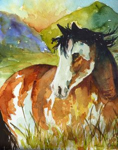 Horse Watercolor Print by Maure Bausch by twopoots on Etsy, $12.50