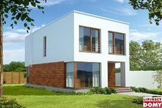 Energooszczędny dom o prostej bryle, idealny na wąską działkę. Płaski dach, duże przeszklenia, drewniane i metalowe elementy elewacji podkreślają nowoczesny wygląd budynku. Uwagę zwraca ciekawe, częściowo zadaszone wejście z częściowo oszklonym wiatrołapem. Na parterze zlokalizowano salon z kominkiem, dużymi oknami i wyjściem na taras, funkcjonalną kuchnię z miejscem na stół, wc i pomieszczenie gospodarcze. Na piętrze znajdują się trzy sypialnie i duża łazienka, w której zmieści się wanna…