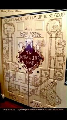 Harry Potter Marauder's map on a closet door