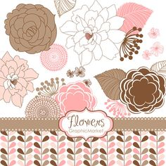 18 Flower Designs Clipart and Digital paper for by GraphicMarket, $4.99