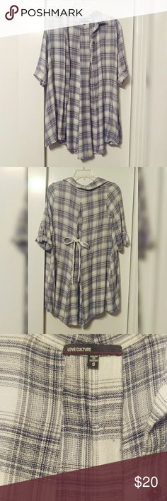 Long Blue & White Plaid Flannel Dress This is a lightly worn long button up flannel dress with white and light blue plaid. It is very feminine and trendy due to the length and style. The back has a white ribbon which you can tie to the front and cinch the waist. The material is super soft and you can pair this with leggings, skirts, or jeans.  Sizing: can fit XS, S, and M easily. Love Culture Dresses Long Sleeve