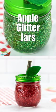 Apple Glitter Jars Making apple glitter jars to welcome September is an easy and fun mason jar project for kids! In this post, learn how to make red, yellow, and green apple-shaped glitter jars that are perfect for calming back-to-school jitters. Mason Jar Projects, Mason Jar Crafts, Plastic Jar Crafts, Pickle Jar Crafts, Fall Crafts For Kids, Craft Projects For Kids, Spring Crafts, Pot Mason Diy, How To Make Red