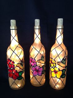 Hummingbird and Hibiscus Wine Bottle of Lights by BottleOfLights, $30.00