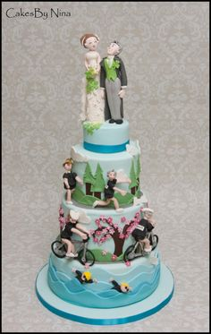It was a pleasure to make this wedding cake for a couple that had to bring their wedding forward due to family issues. They met through doing Triathlons, and she is Welsh and he is Irish hence the leak and clover bouquet, anyways they found a. Zombie Wedding Cakes, Unusual Wedding Cakes, Fondant, Boho Cake, Sports Wedding, Sport Cakes, New Cake, Pastry Cake, Celebration Cakes