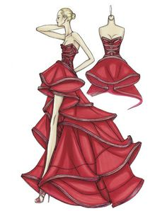 Atelier Versace Spring 2009.  China red silk organza ballgown  Pleated bands define the shape of the bustier and form the edges of each ruffle on the skirt