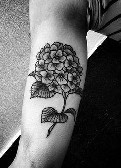 Image de flower, hortensia, and tattoo