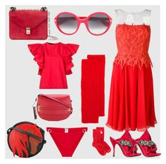 """The Shade of Red"" by denisee-denisee ❤ liked on Polyvore featuring Blumarine, Isabel Marant, Orlebar Brown, Just Cavalli, Valentino, CO, N°21, Gucci and vintage"