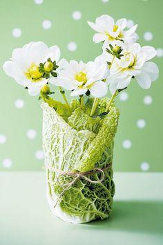 Un vase enveloppé d'une feuille de chou