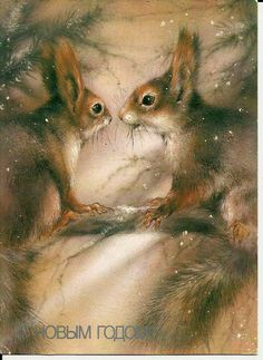 Squirrels on pine - Vintage  Russian Postcard 1988 by LucyMarket on Etsy