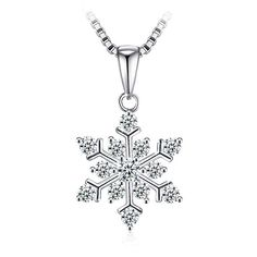 ROYI Snowflake Christmas Necklaces for Girls 925 Sterling Silver 5A Cubic Zirconia