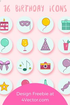 Regardless of whether it was yesterday, today or tomorrow, it's always someone's BIG DAY! And if your special someone has all the love for artistic gifts, they would totally dig this set of birthday vector icons. Free Birthday Icons. Download these now at 4vector.com...Happy Birthday!