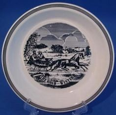 Currier Ives Blue White Pie Plate The Road Winter | eBay
