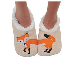 Snoozies Womens Class Splits Applique Slipper Socks - Fee…