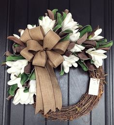 Door Wreaths Gorgeous Spring Wreath Decor Idea For Your House 23 Your Mattress – No Piece Of Furnitu Wreath Crafts, Diy Wreath, Wreath Ideas, Grapevine Wreath, Burlap Wreaths, Mesh Wreaths, Yarn Wreaths, Floral Wreaths, Wreath Making