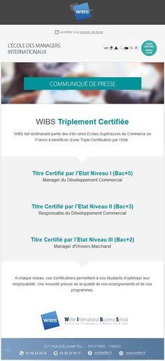 WIBS fait dorénavant partie des très rares Ecoles Supérieures de Commerce en France à bénéficier d'une Triple Certification par l'Etat ! Plus d'infos sur https://www.facebook.com/wellerparis et sur tous les réseaux sociaux !