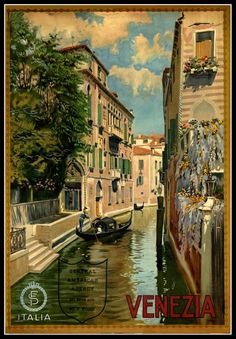 Venezia Italia ~ Venice Italy ~ Vintage Travel Poster by TheVintageVamp Vintage Italian Posters, Vintage Travel Posters, Venice Travel, Italy Travel, Travel Ads, Travel Photos, Travel Tourism, Poster Pictures, Print Pictures
