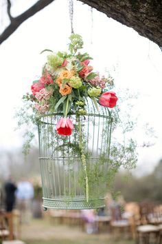 Birdcages with flowers   Sarah & Conley  Photo By Paperlily Photography
