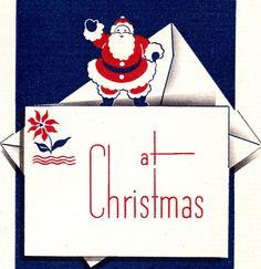 Santa on a card Christmas Mail, Christmas Things, Vintage Christmas Cards, Blue Christmas, Kids Christmas, Christmas Crafts, Xmas, Christmas Graphics, Holidays And Events